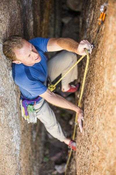 Rock Climbing Photo: Mike in Devil's Head.