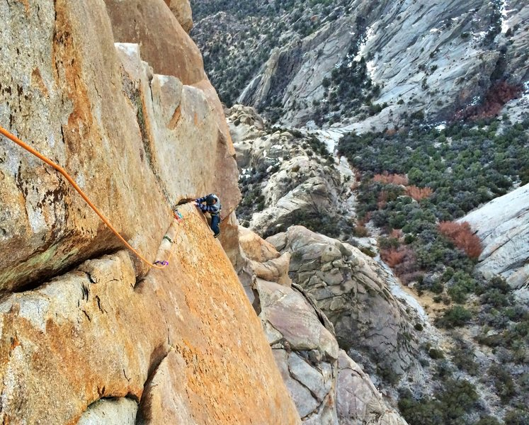 Peter V following the exposed headwall splitter of a beautiful route on the Toiyabe Fitzroy