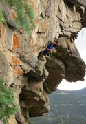 Rock Climbing Photo: Keith North preparing to bust the big move through...