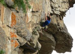 Rock Climbing Photo: Keith cranking over the Saigon roof crux.