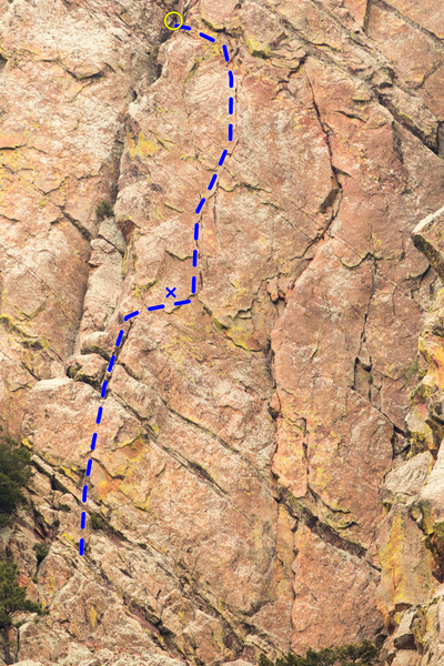 Rock Climbing Photo: The crux pitch of Green Sleeves. The bolt is marke...