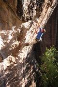 Rock Climbing Photo: Ben Riley on the crux move of Tiki Man
