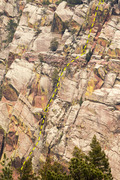Rock Climbing Photo: Most of the route. The first pitch below the roof ...