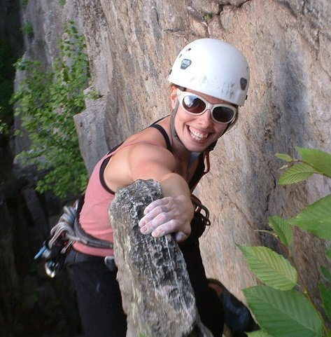 celebrating medical clearance to climb again after a full recovery from a basal skull fracture and severe TBI that I received in a stoopid sledding/snowyaking accident sans helmet, AND my first full season of rock climbing, in the place i learned how... seneca rocks, wv. june 1, 2010