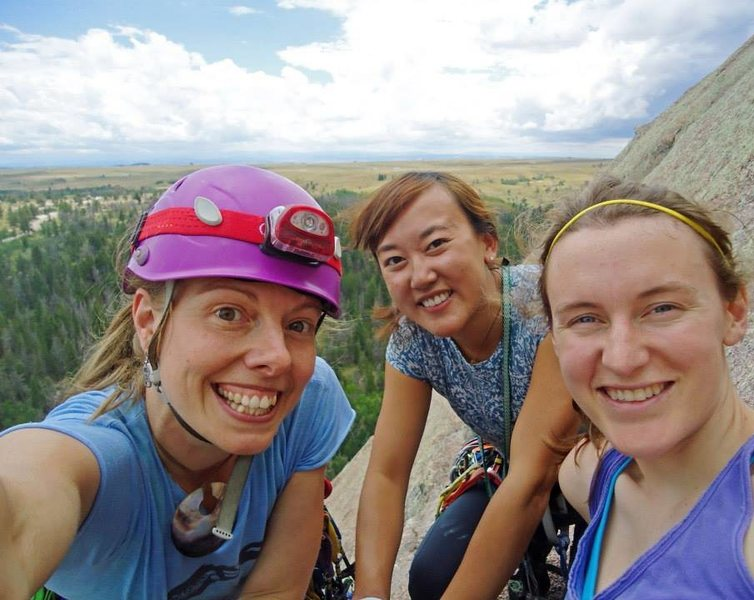 woo hoo, ladies trip to vedauwoo! top of the first, edward's crack, vedauwoo, wy. july 1014