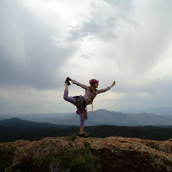 yoga bits on the summit of jungle mountaineering, rampart range, co.(pikes peak is in the background somewhere) summer 2014