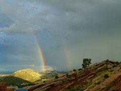 Rock Climbing Photo: double rainbow red rocks colorado