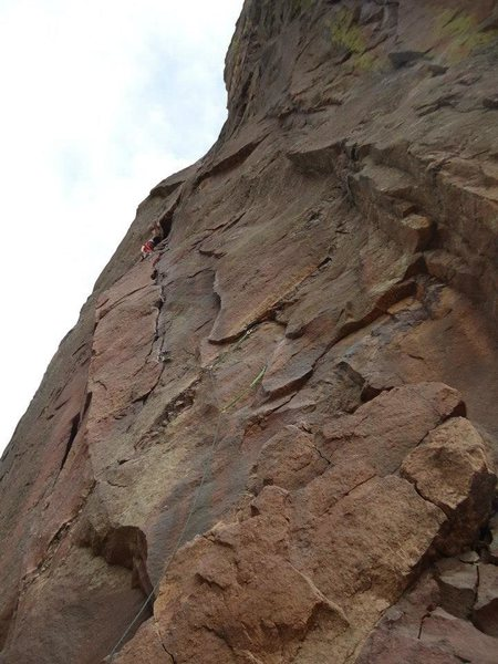 first pitch of the bastille. and the very first time I ever climbed in Colorado. no guidebook, no beta, just some bits from a friend who's a big time sport climber that told me it was 8+++, two pitches with bolted anchors, and then a walk-off to what he thought was the east. well, at least I was thinking 8+++ in my head all the while leading pitch after pitch, building four and five piece anchor after anchor, swearing I had done gone awff route whilst hauling him up, only to find that I was spot on and had linked some bits. this route and the experience of that climbing day made me fall in love with eldo and subsequently Colorado climbing altogether. one of my best days ever.