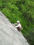 Rock Climbing Photo: Mike Zarenski thru the crux