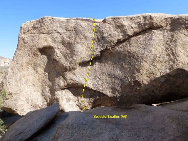 Rock Climbing Photo: Speed of Leather (V6), Joshua Tree NP