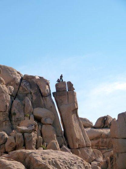 Climbers atop the Skinny Dip Pillar, Joshua Tree NP