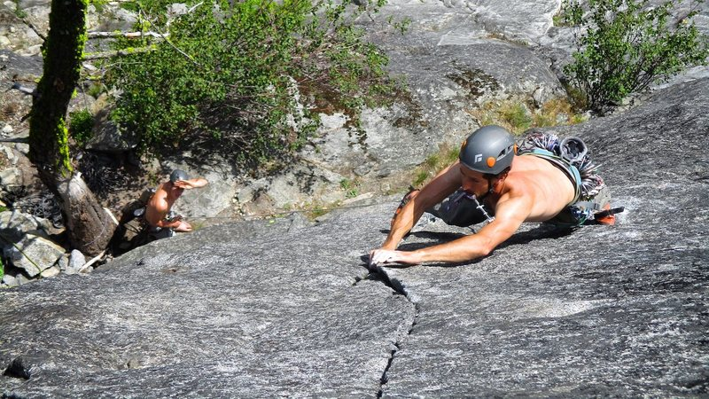 Rock Climbing Photo: Kyle leading the Psychopath pitch, just above the ...