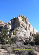 Rock Climbing Photo: Fingertip Traverse of Josh (5.7+), Joshua Tree NP