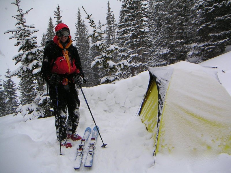 Backcountry skiing and camping in Colorado