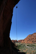 Rock Climbing Photo: The impressive rappel over the arch