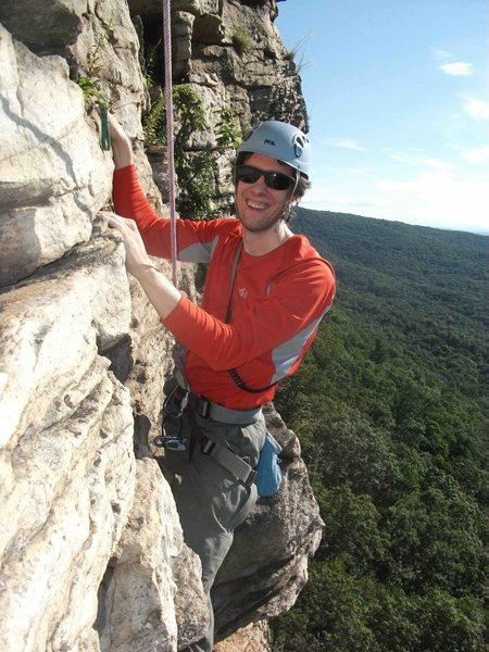 Rock Climbing Photo: Steve Gubser near the top of Madame G's at the Gun...