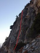 Rock Climbing Photo: Terrible beta photo. The red line covers a cool cr...