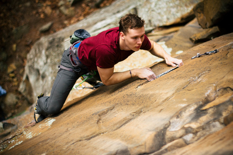 "Rock Climbing Photo: Roebuck on ""Willy Wonka"" 5.10b"