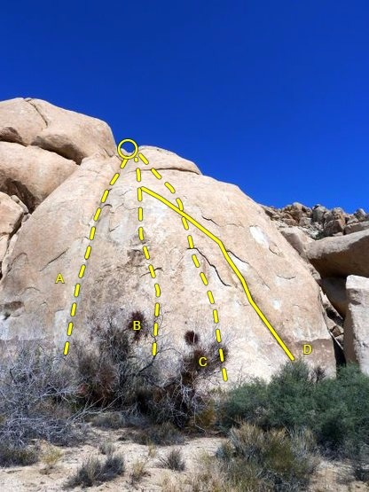Sphinx Rock, Joshua Tree NP<br> <br> A. Afterthought (5.11a)<br> B. Cherry Blossom (5.10a)<br> C. Don't Touch That Flake (5.9)<br> D. Using Your Nose (5.5)