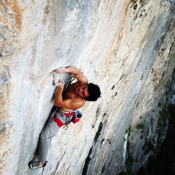 Saul on the crux of the first pitch