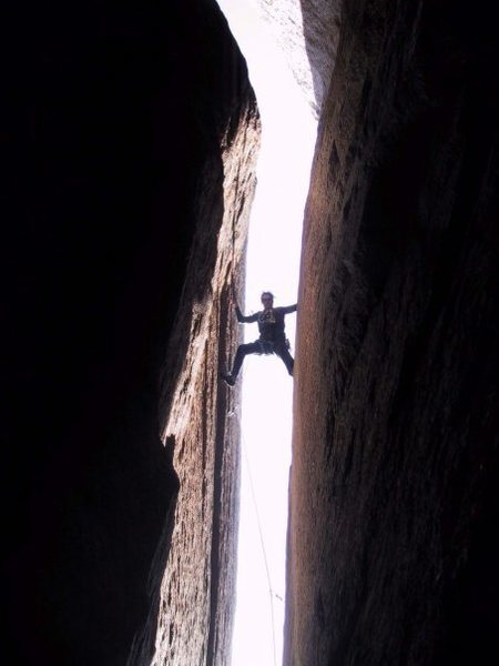 Rock Climbing Photo: Leading The 5.10 Chimney