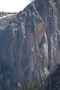 Rock Climbing Photo: Photo from up-valley showing the upper half of the...