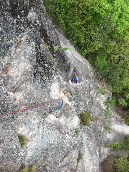 Rock Climbing Photo: Looking down at p1