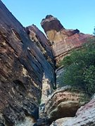 Rock Climbing Photo: Contemplating the exit