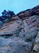 Rock Climbing Photo: Looking up at Karate Crack