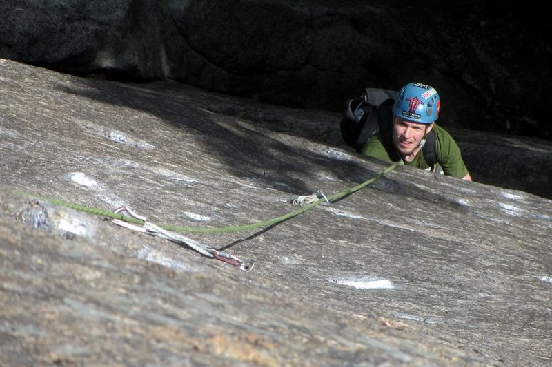 Jeremy looking up at the crux overlap