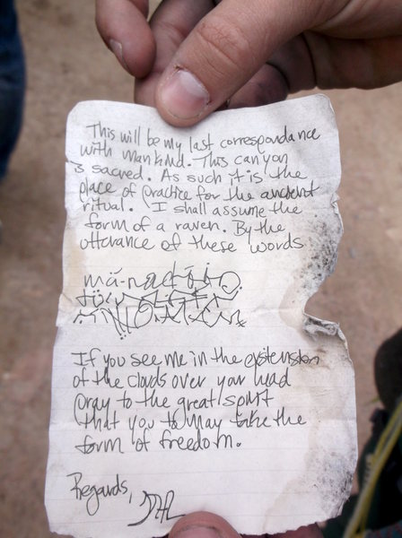 Note found in a bottle on the way to the West Ridge.  Only in Eldo!