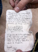 Rock Climbing Photo: Note found in a bottle on the way to the West Ridg...