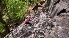 Rock Climbing Photo: Jenny on the route.  Note that it eases considerab...