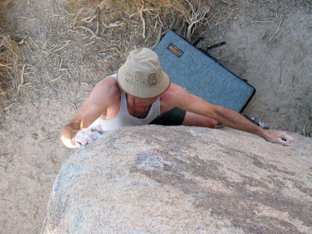 Rock Climbing Photo: James near the top of Border Collie (V2), Joshua T...
