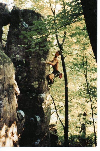 JJ Schlick firing up The Big Bud Arête, 1999.