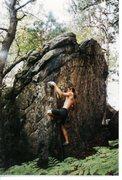 Rock Climbing Photo: Mike Nesbitt bouldering on The Cube circa 1993. Ch...