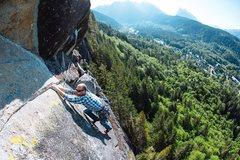 Rock Climbing Photo: Derek on pitch 4, on the FA. Photo by Matt Van Bie...