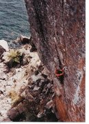 Rock Climbing Photo: Dave Groth on Palisaid 5.13-, Palisade Head, MN 19...