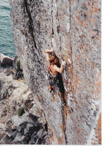 Dave Groth on Palisaid 5.13-, Palisade Head, MN 1996/97.