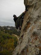 Rock Climbing Photo: Was forced to heel-hook at the crux of this bad bo...