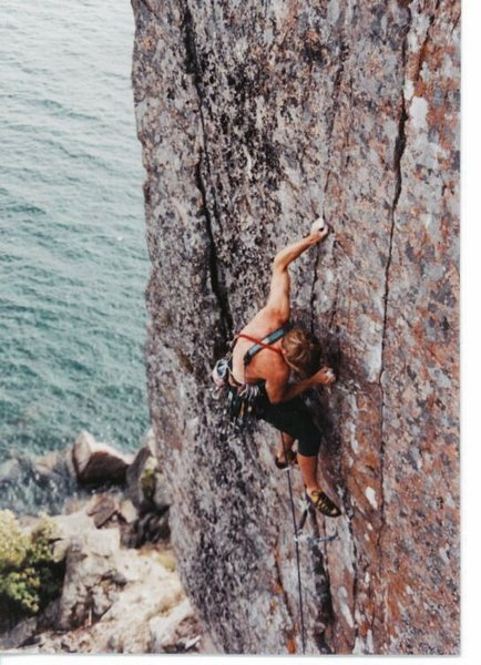 Dave Groth on Palisaid 5.13-, Palisade Head, MN 1996/97.