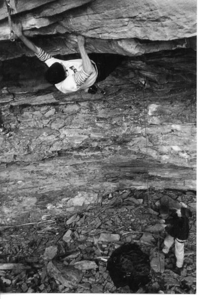 JJ cranking the southern roofs and Seth Dyer belaying at Little River Canyon, AL 1996.