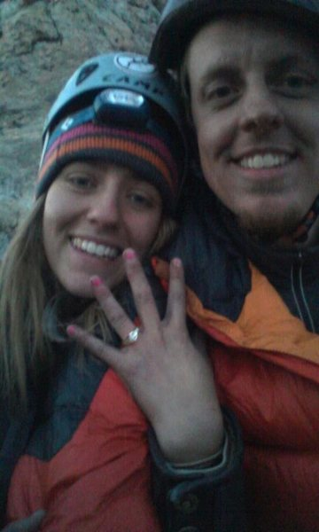 Petzoldt Direct will always be a very special climb to me- it is on that route that I proposed to my wife!! Check out that rock (on her finger)