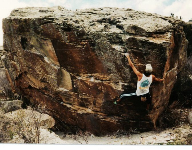 bouldering Gill problems at Horse Tooth Reservoir, CO 1996.
