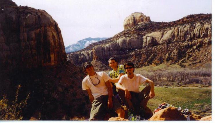 JJ, Jessie, Seth, Battle of the Bulge Buttress, Indian Creek, UT 1997.