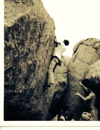 JJ bouldering At The Dougherty St. boulders, Prescott, AZ 1999.