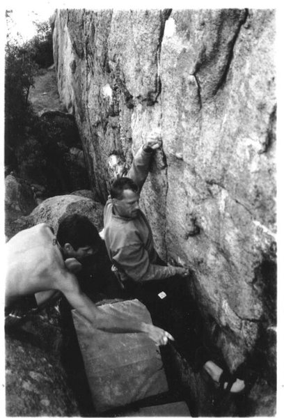Rock Climbing Photo: Dan Schwarz sending The Ice Pick V4, Watson Lake, ...