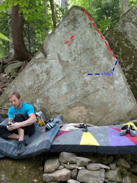 """The Arrow of Light"" follows the right arete using the only crimps on the face as left hands."