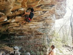 Rock Climbing Photo: Playing around in Little River Canyon on a 12a, su...