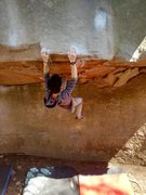 "Rock Climbing Photo: Attemping ""Dragon Slayer"", V11. One move..."